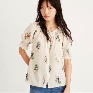 NWT Madewell Smocked Button-Down Top